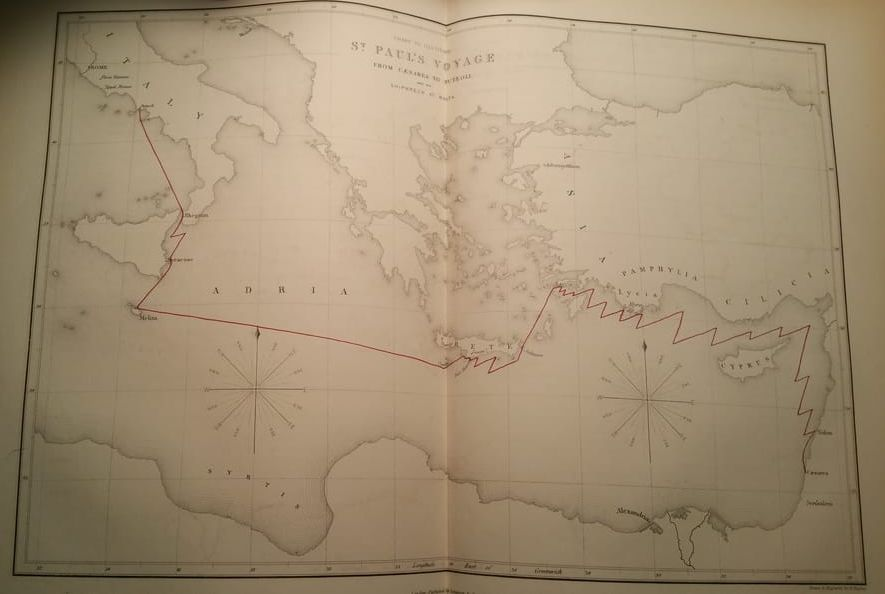 Map of Paul's voyage to Rome, shipwrecked at Malta
